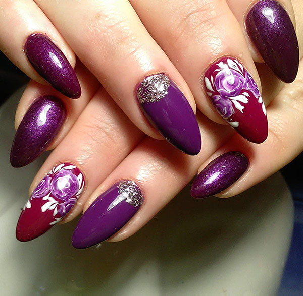 Purple Christmas Nail Art Designs Ideas For Winter